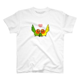 ハイタッチなかよしコザクラインコ【まめるりはことり】 T-shirts