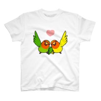 なかよしコザクラインコ【まめるりはことり】 T-shirts