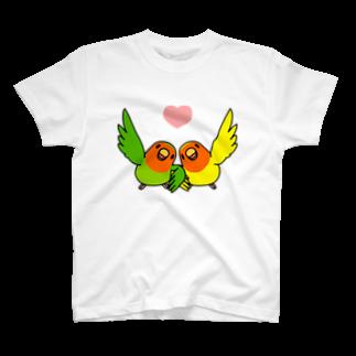まめるりはことりのなかよしコザクラインコ【まめるりはことり】 T-shirts