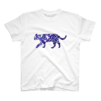 猫シルエット(ギャラクシー柄①) T-shirts