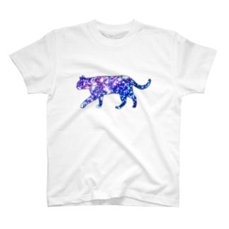 猫シルエット(ギャラクシー柄②) T-shirts