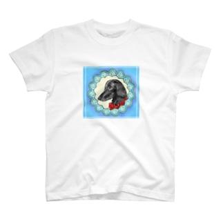 ロマンチストわんこさん フラットコーテッドレトリバー T-shirts