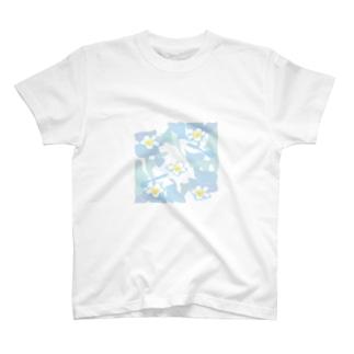 ジルトチッチのデザインボックスの南国ハワイの白いプルメリアの花のグッズ T-shirts