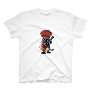 キャスケットをかぶったギターねこ T-shirts