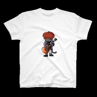 ほっかむねこ屋のキャスケットをかぶったギターねこ T-shirts