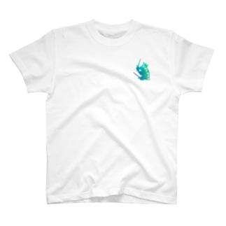 ドラム カエル シルエット グリーングラデーション T-shirts