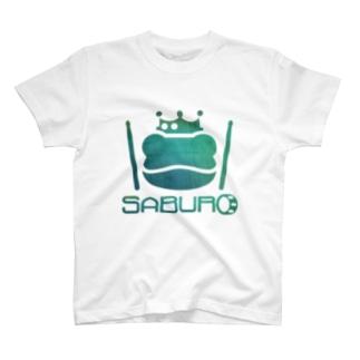 カエル ドラム グリーングラデーション コンクリート T-shirts