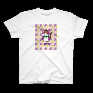 にゃんこグッズ●佐藤家の[フルーツ猫シリーズ]ぶどう猫のヴィーティス・縁取りver. T-shirts