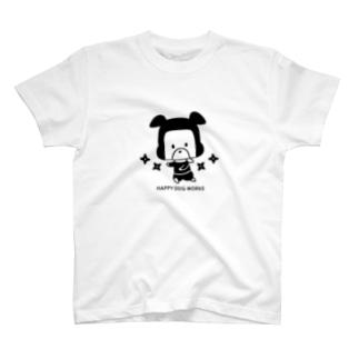 忍者犬たろうくん_シュリケンBK T-shirts