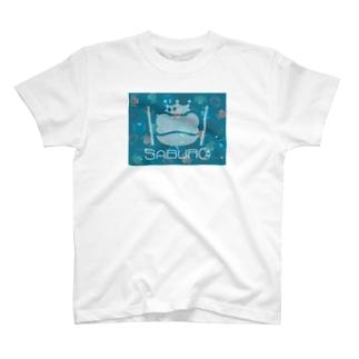 カエル ドラム スケルトンロゴonちりばめられたサブロー T-shirts