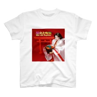 ドール写真:巫女と勾玉 Doll picture: Japanese Miko with Magatama ( Comma‐shaped ) T-shirts