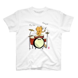 ドラムを叩く猫カラーver. T-shirts