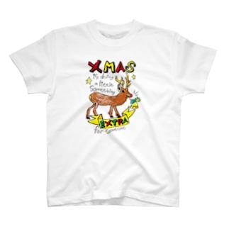 無彩色デザイン販売所のChildren's Art / Xmas トナカイ T-shirts