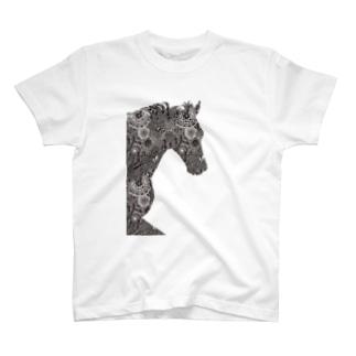 馬がすてきな(うっすら)白地用 T-shirts