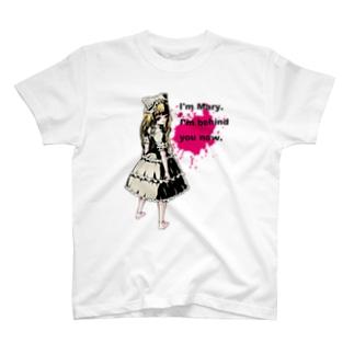 病みかわいいゴシックホラーデザイン Doll Splatte Mary T-shirts