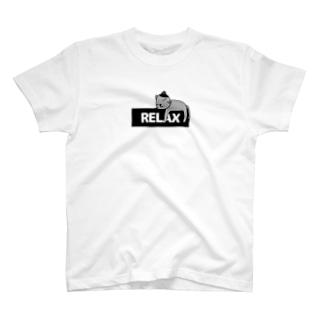 RELAXロゴと猫 T-shirts