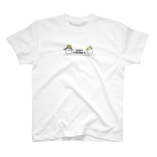 にゃんちく 小さく前にならえ 黒コマ T-shirts