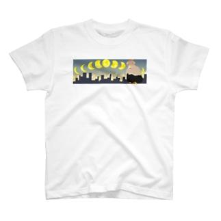 夜空と女性オリジナルTシャツ T-shirts