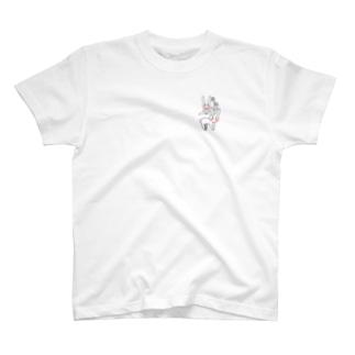 友達うさぎくんと馬跳び T-shirts