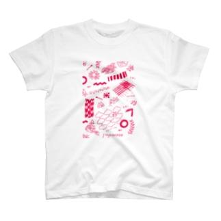 ちよがみ柄 レッド T-shirts