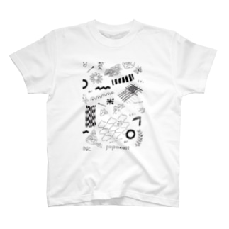 ちよがみ柄 ブラック T-shirts