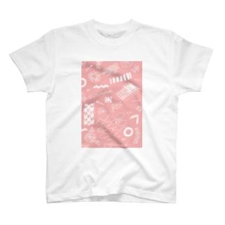 ちよがみ柄 もも T-shirts
