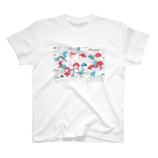 赤青のハイネックの集い T-shirts