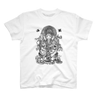 ゴトウヒデオ商店 ゲットースポーツのガネーシャ Tシャツ T-shirts