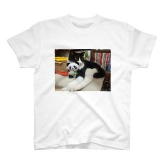 パンダを抱っこするりんごさん T-shirts