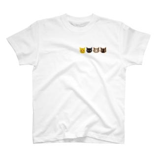 ねこず 4匹 T-shirts