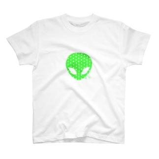 麻柄宇宙人くん 【緑】 T-shirts