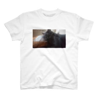 黒猫こばんのねむ顔 T-shirts