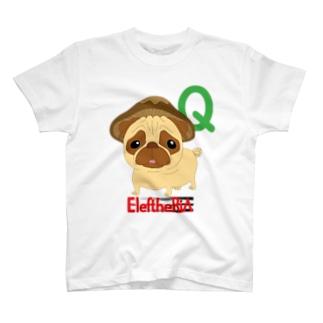 パグ椎茸Qにゃんバックプリント入り T-shirts
