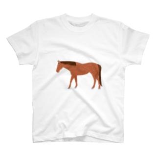 クレヨン風の馬(鹿毛) T-shirts