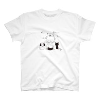 Wan Nyan Miria T(黒柄) T-shirts
