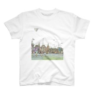 CG絵画:アムステルダム中央駅 CG art: Amsterdam Centraal station T-shirts