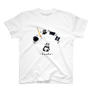 剣道 パンダと防具 T-shirts