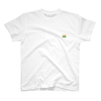 インド国旗 胸ロゴ T-shirts