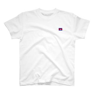 カンボジア国旗 胸ロゴ T-shirts