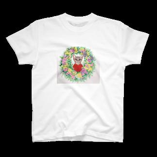 saiko-ruiのリース猫 T-shirts