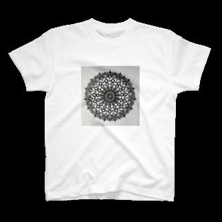 saiko-ruiのマンダラBLACK T-shirts