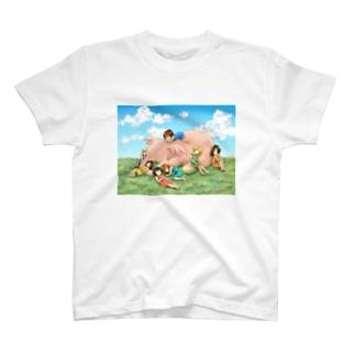 おやすみなさいはどうぞ笑顔で T-shirts
