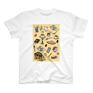気ままに創作 よろず堂の純喫茶 いろどり 背景つき T-shirts