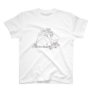 迷いウサギ-白黒 T-shirts