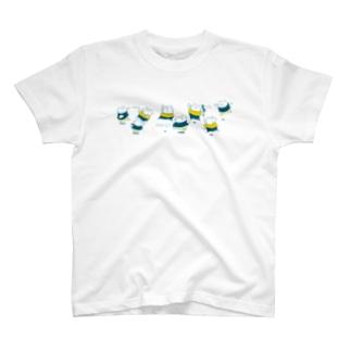 雪にゃっ戦 渋色 T-shirts