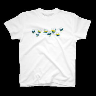 shirokumasaanの雪にゃっ戦 渋色 T-shirts
