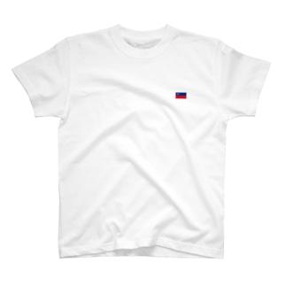 リヒテンシュタイン国旗 胸ロゴ T-shirts