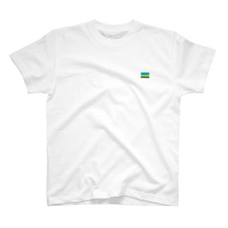 大のルワンダ国旗 胸ロゴ T-shirts