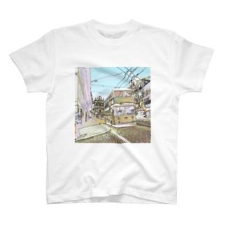 CG絵画:ポルトのダブルデッカーバス  Portugal: Double Decker bus in Porto T-shirts