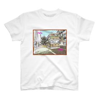 CG絵画:ポルトのダブルデッカーバス CG art: Double Decker bus in Porto T-shirts